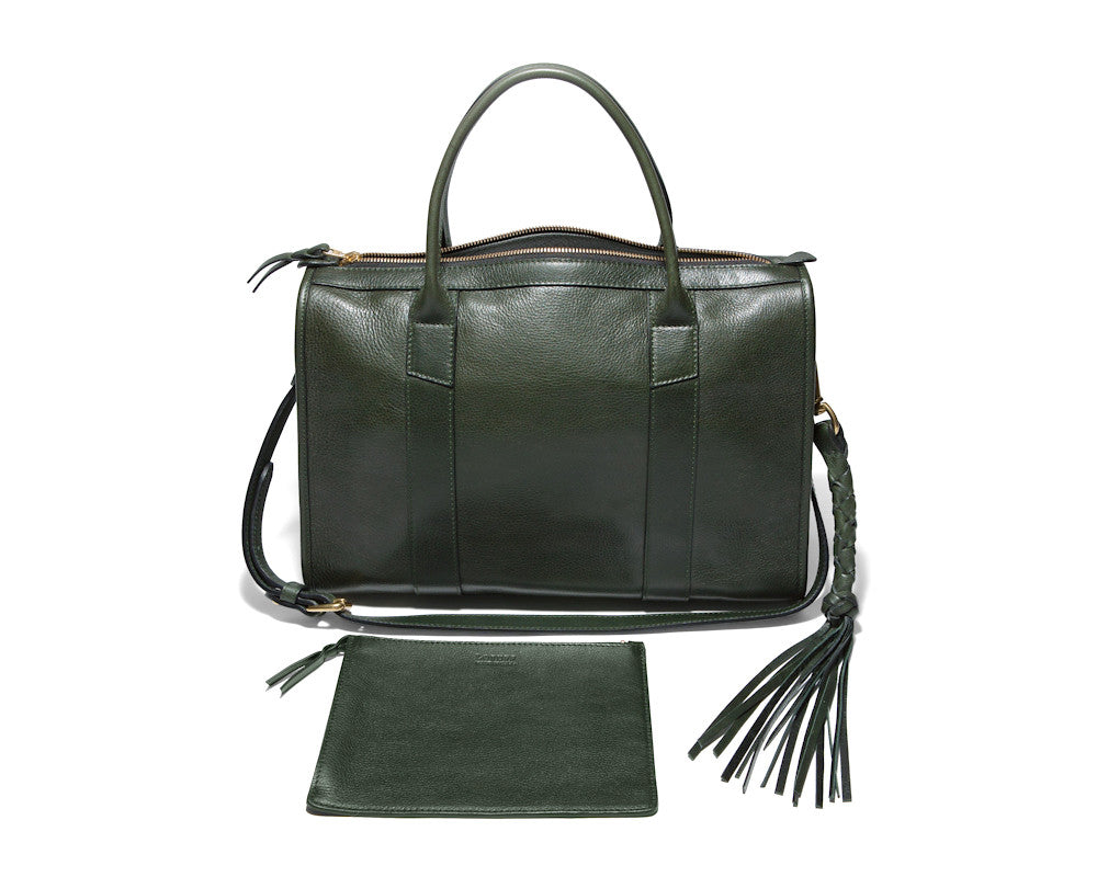 Front Leather View of Zipper Satchel #9 Green