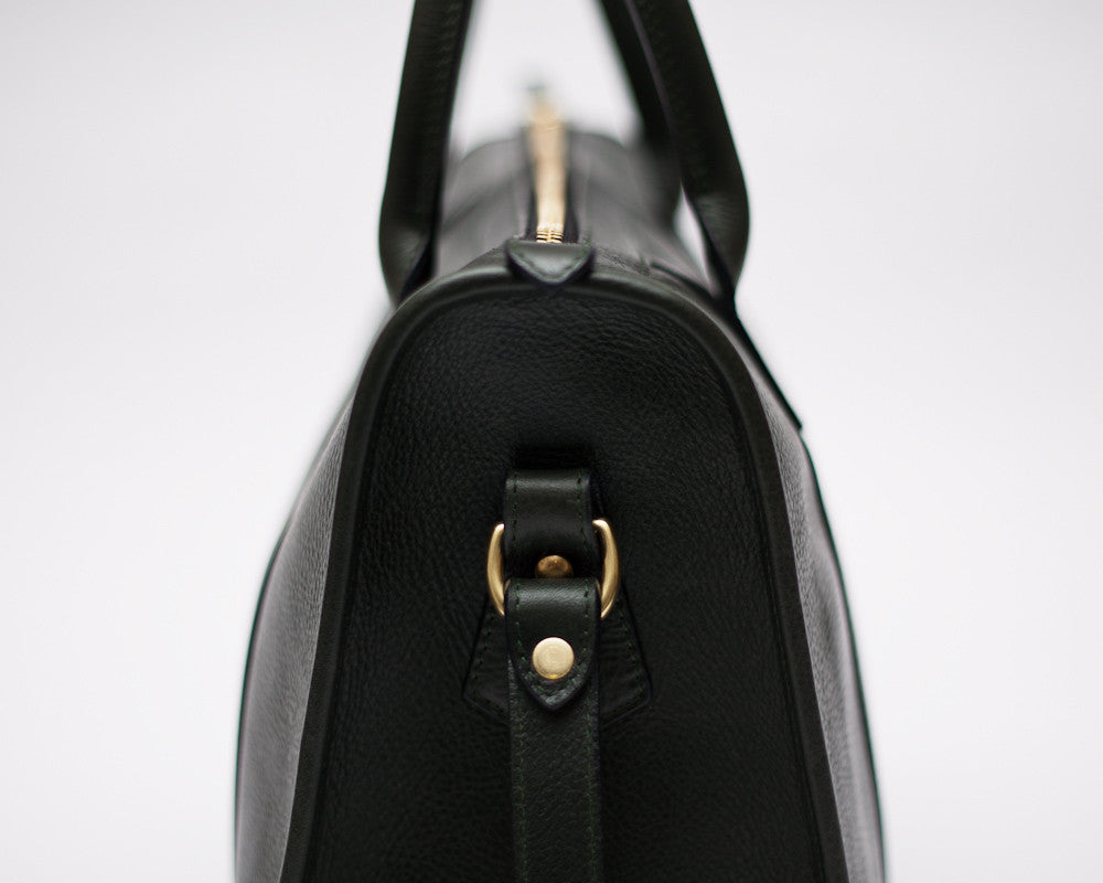 Side Leather View of Zipper Satchel #9 Green