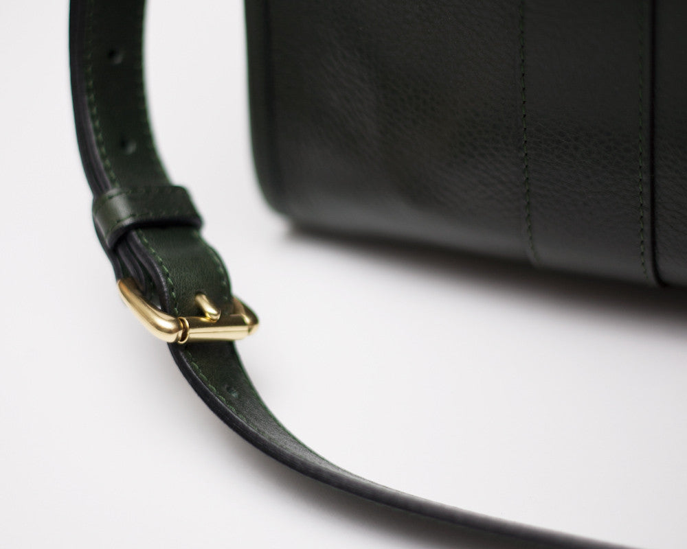 Leather Strap of Zipper Satchel #9 Green