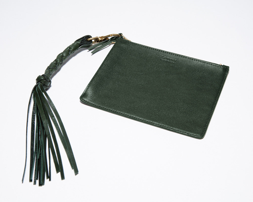Removable Leather Zipper Pouch of Zipper Satchel #9 Green
