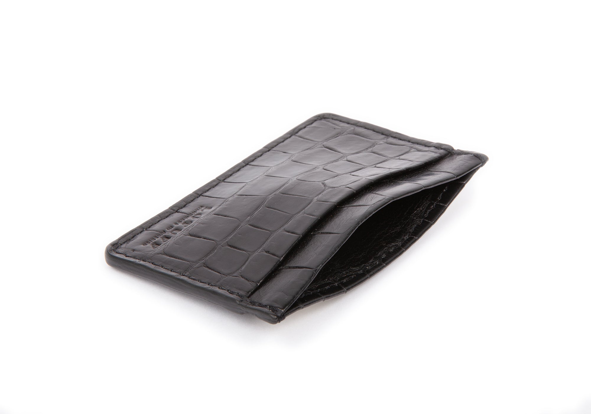 Black American Alligator Credit Card Wallet Black Alligator