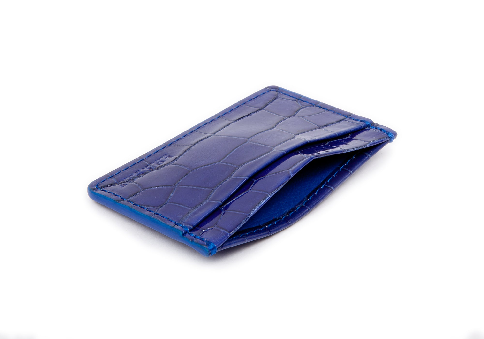 Electric Blue American Alligator Credit Card Wallet Electric Blue Alligator