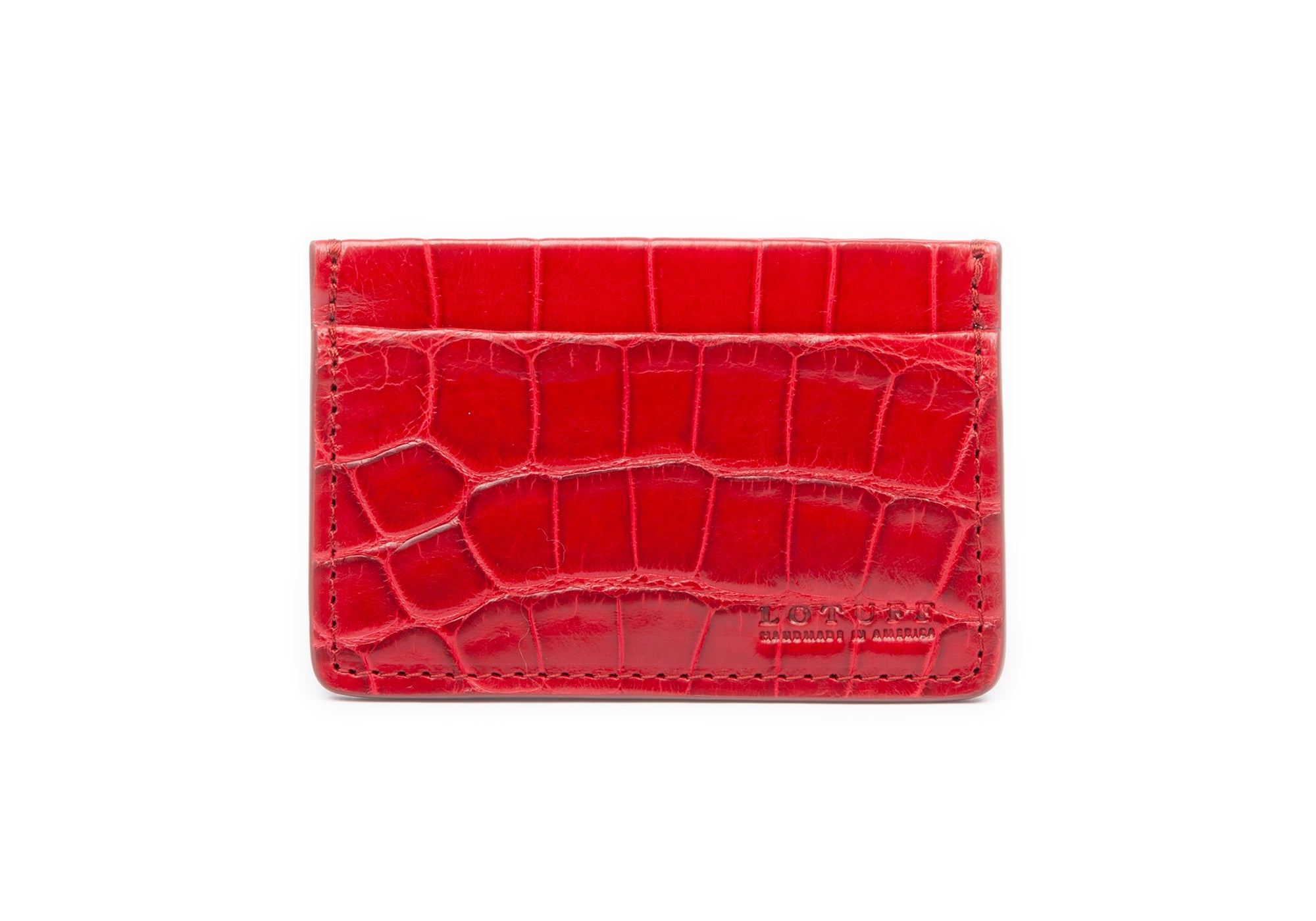 American Alligator Credit Card Wallet Red Alligator