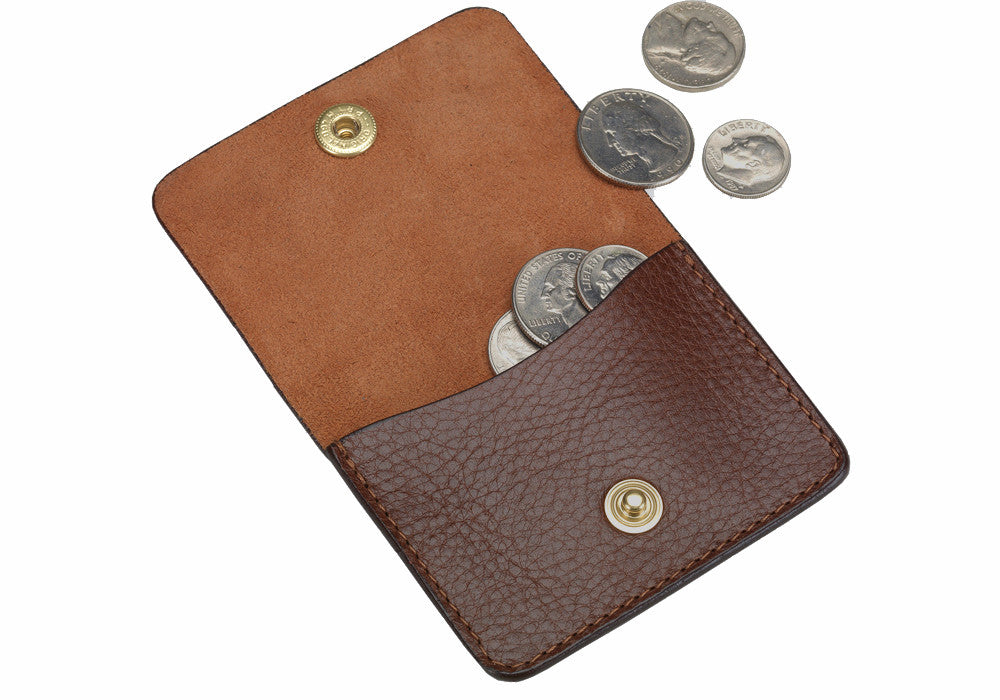 Open View of Leather Coin Wallet Chestnut