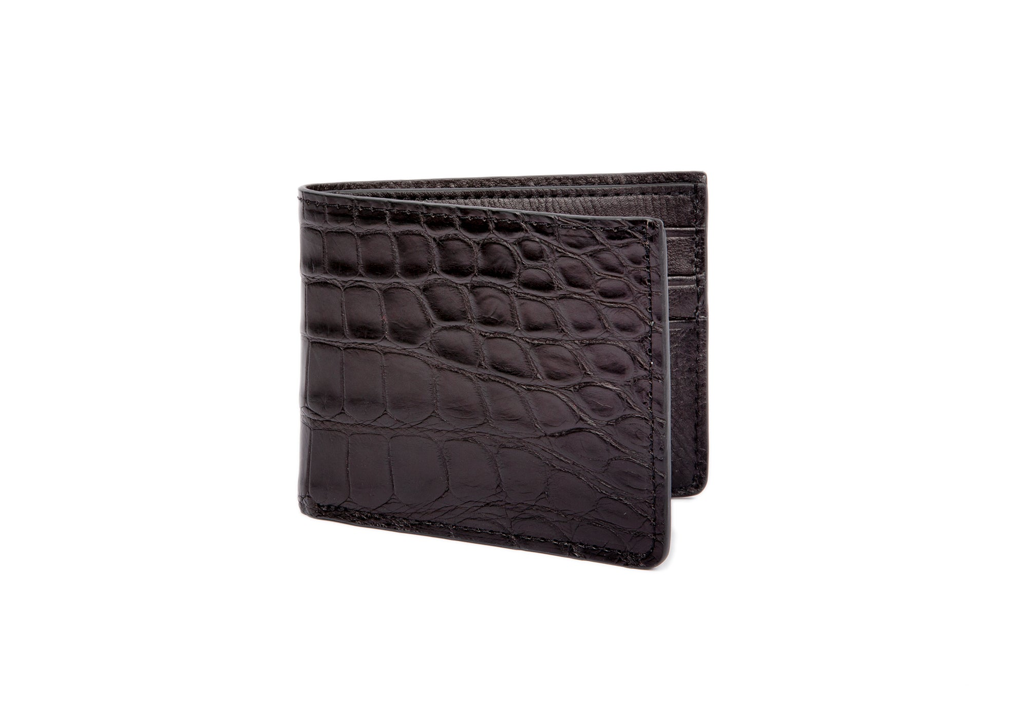 American Alligator Bifold Wallet Black Alligator