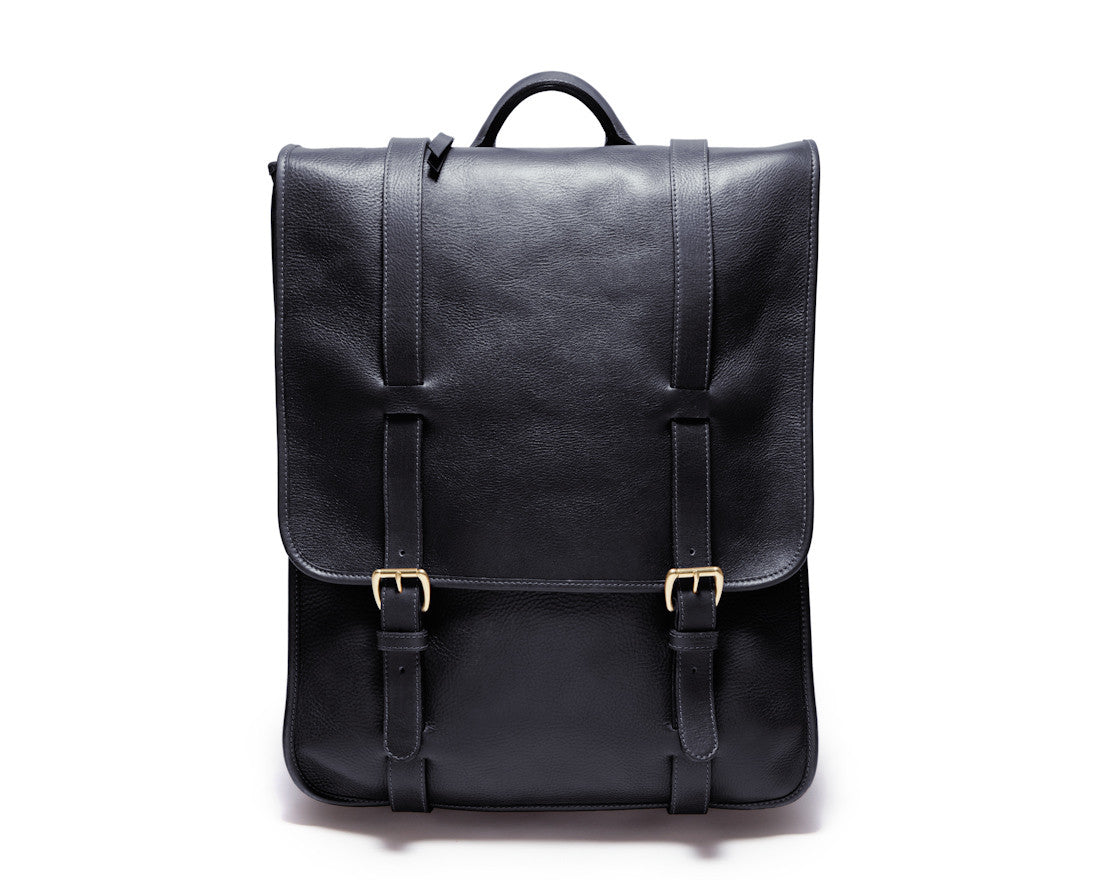 Front View of Leather Backpack Black