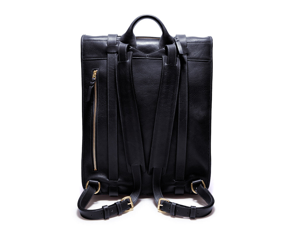 Back Leather Strap View of Leather Backpack Black