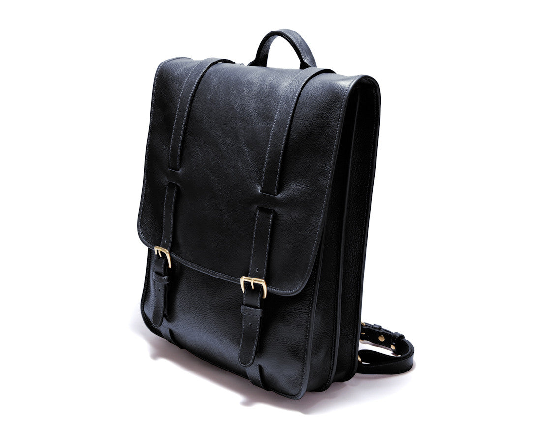 Front Side View of Leather Backpack Black