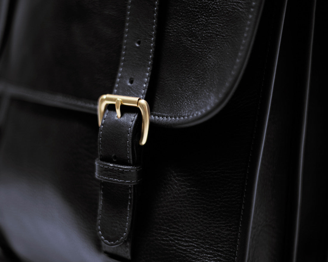 Front Leather Strap of Leather Backpack Black