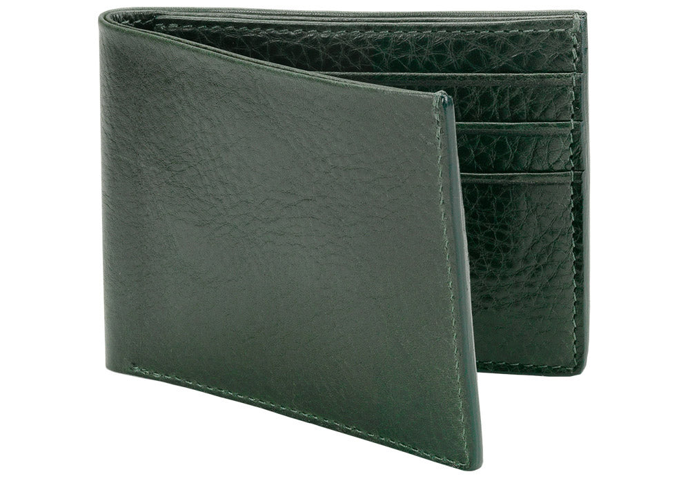 Side View of Leather Bifold Wallet Green