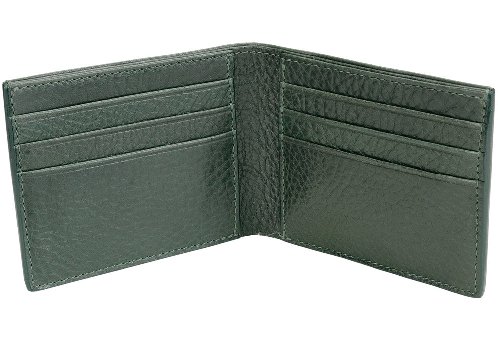 Open Side View of Leather Bifold Wallet Green