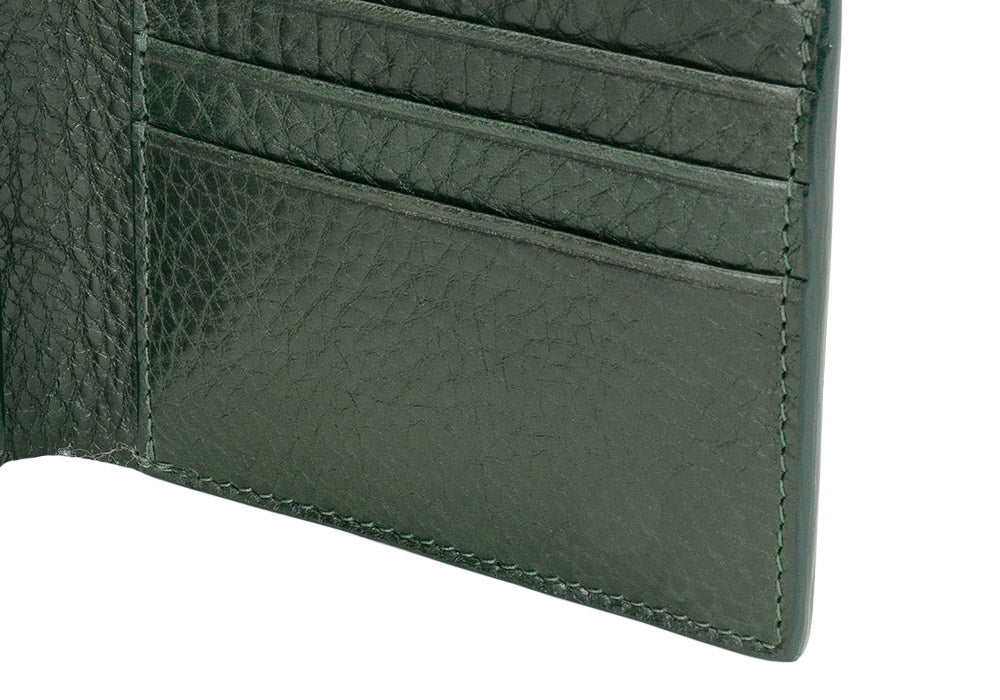 Close Up Open Side View of Leather Bifold Wallet Green