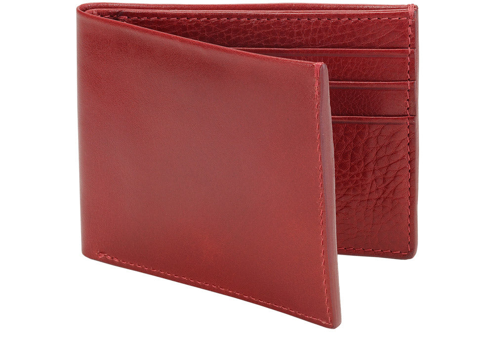 Side View of Leather Bifold Wallet Red