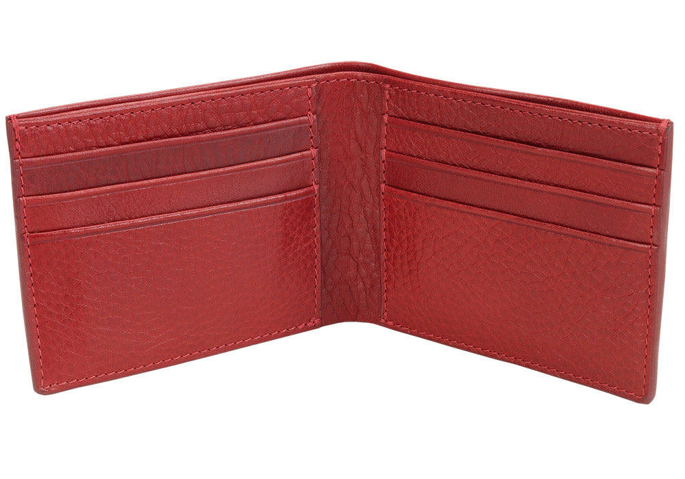 Open Side View of Leather Bifold Wallet Red