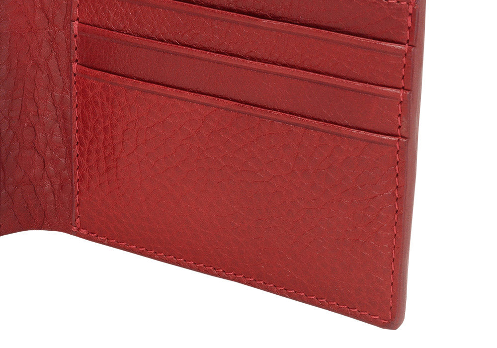 Close Side View of Leather Bifold Wallet Red