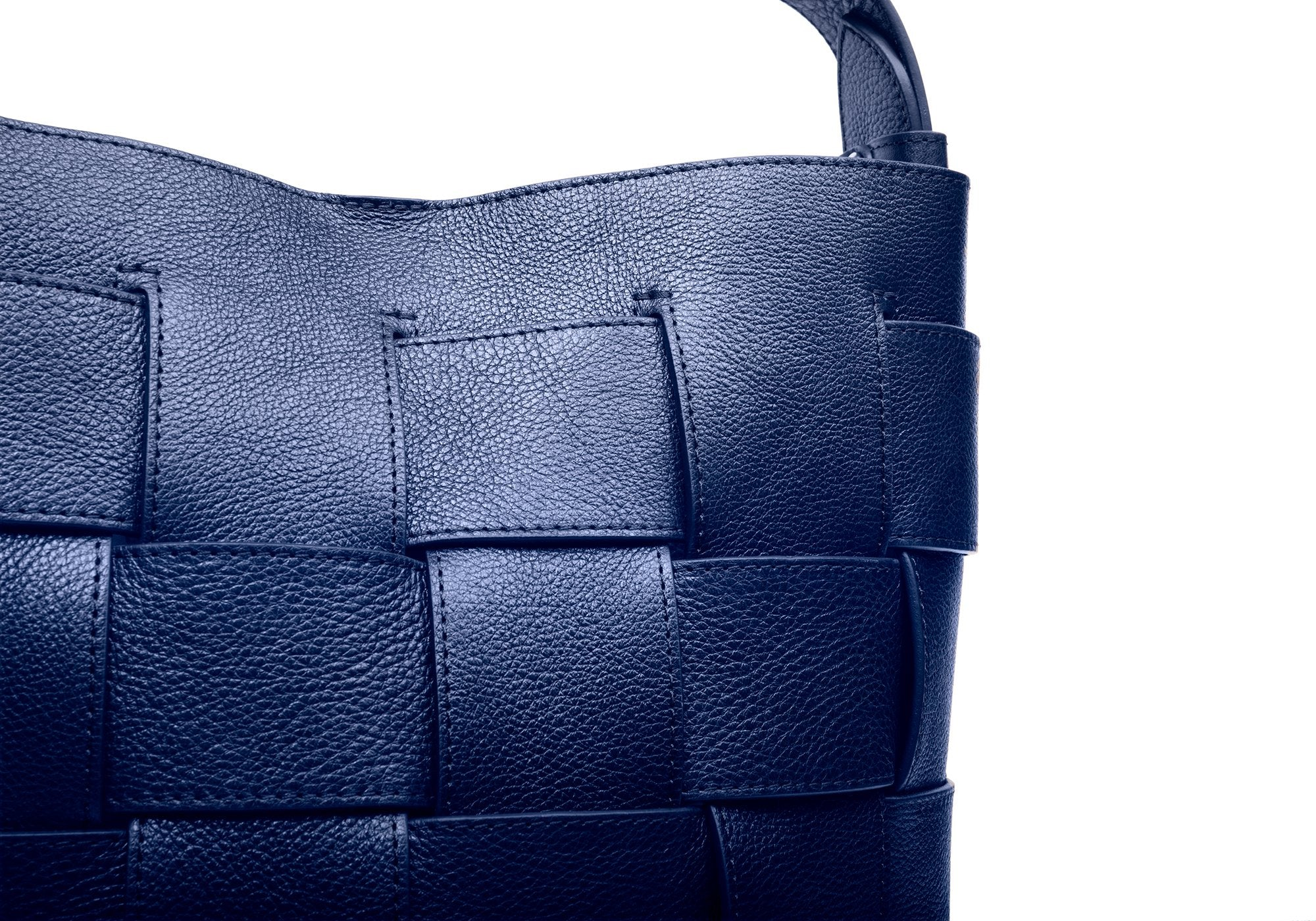 Woven Leather Bucket Shoulder Bag Indigo