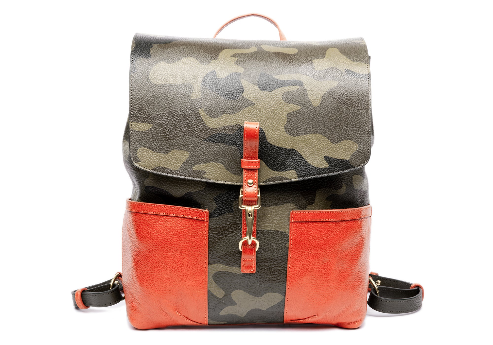 The Handpainted Leather Knapsack Olive