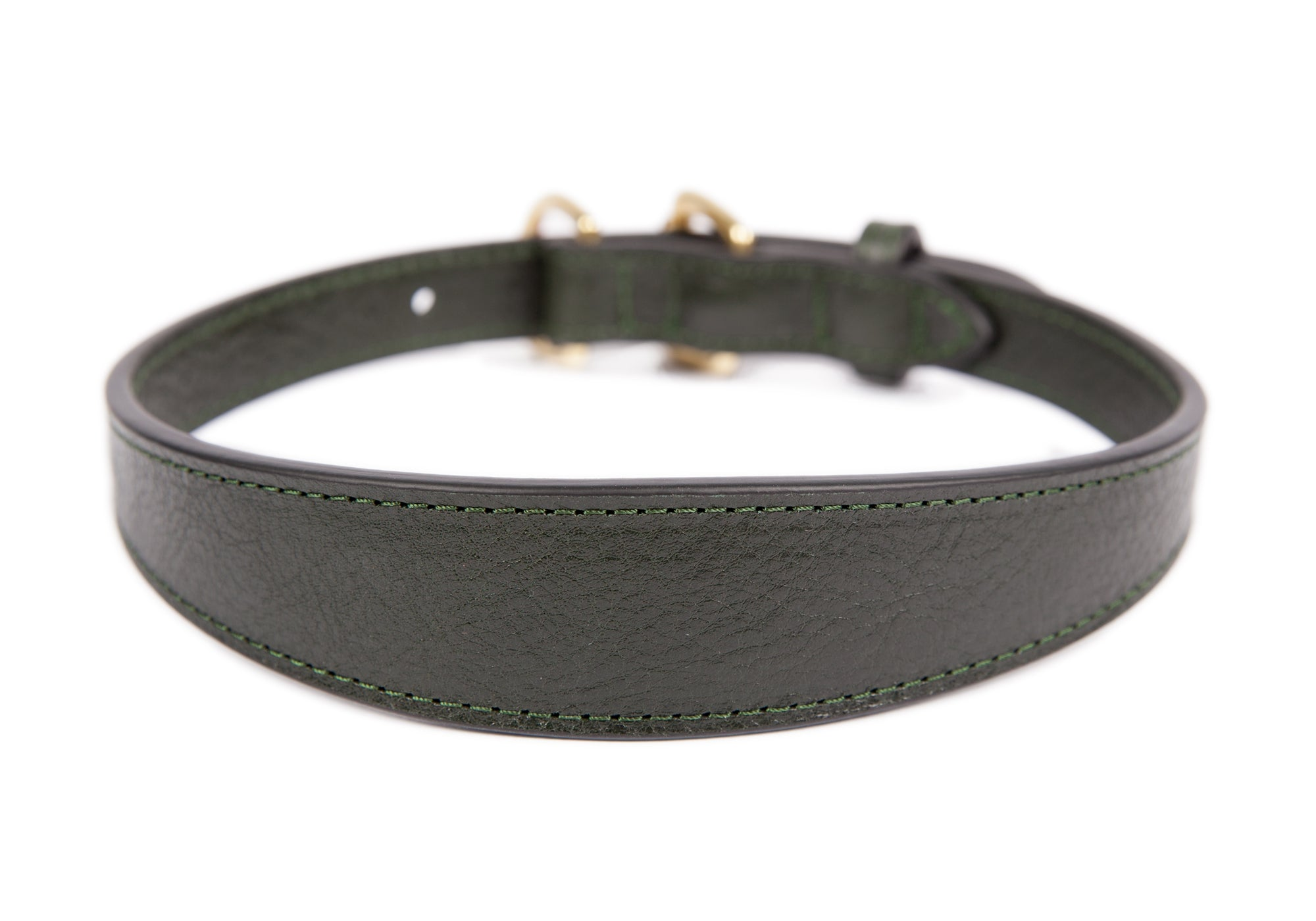 Large Leather Dog Collar Green