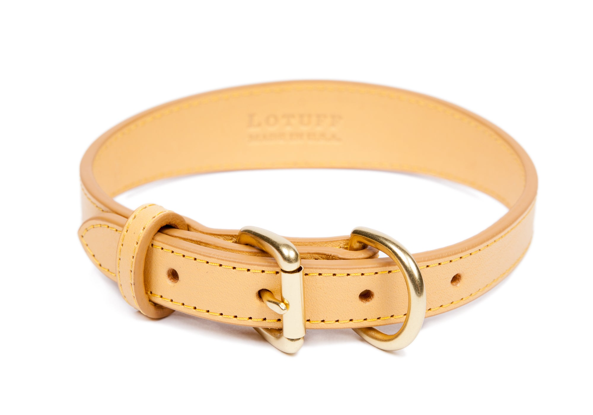 Large Leather Dog Collar Ochre