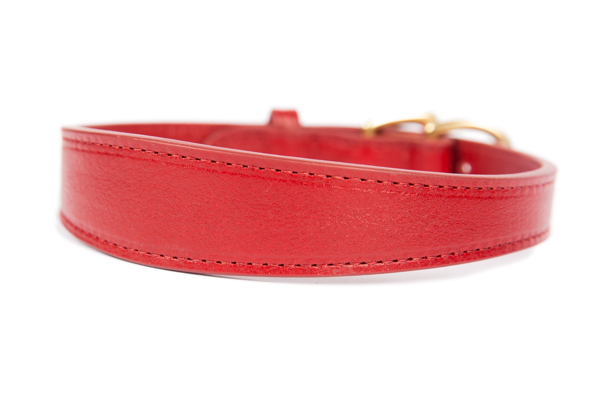 Large Leather Dog Collar Red