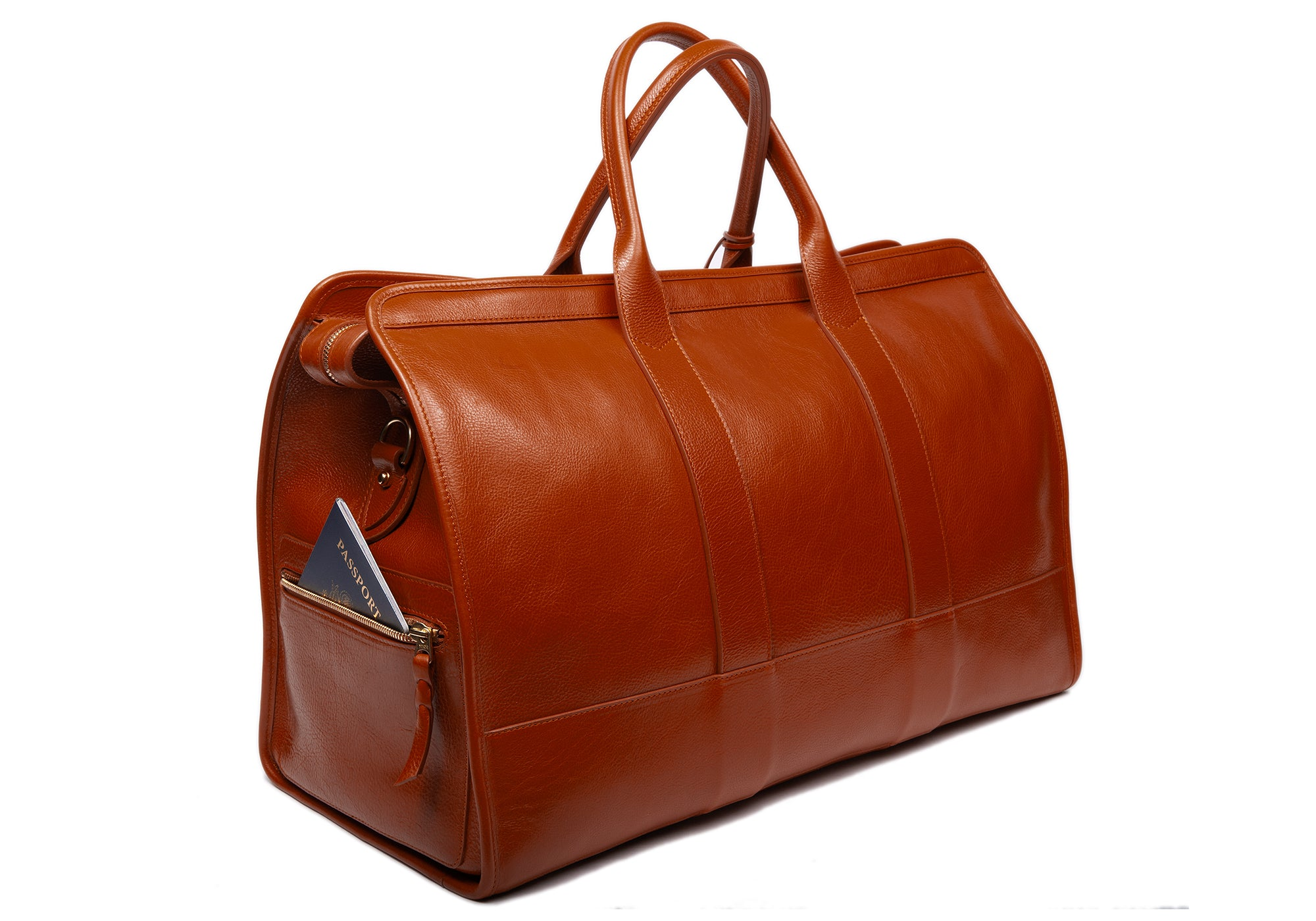 Leather Duffle Travel Bag Saddle Tan