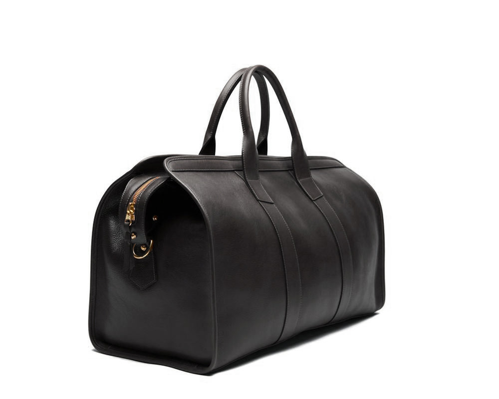 Leather Duffle Travel Bag Black