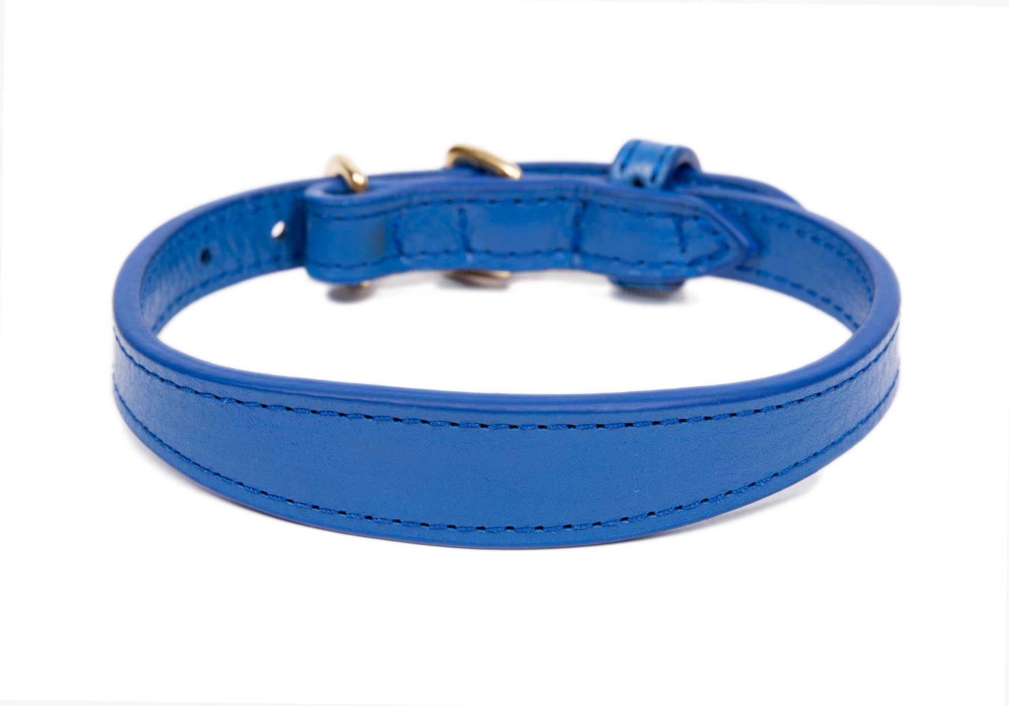Mini Leather Dog Collar Electric Blue