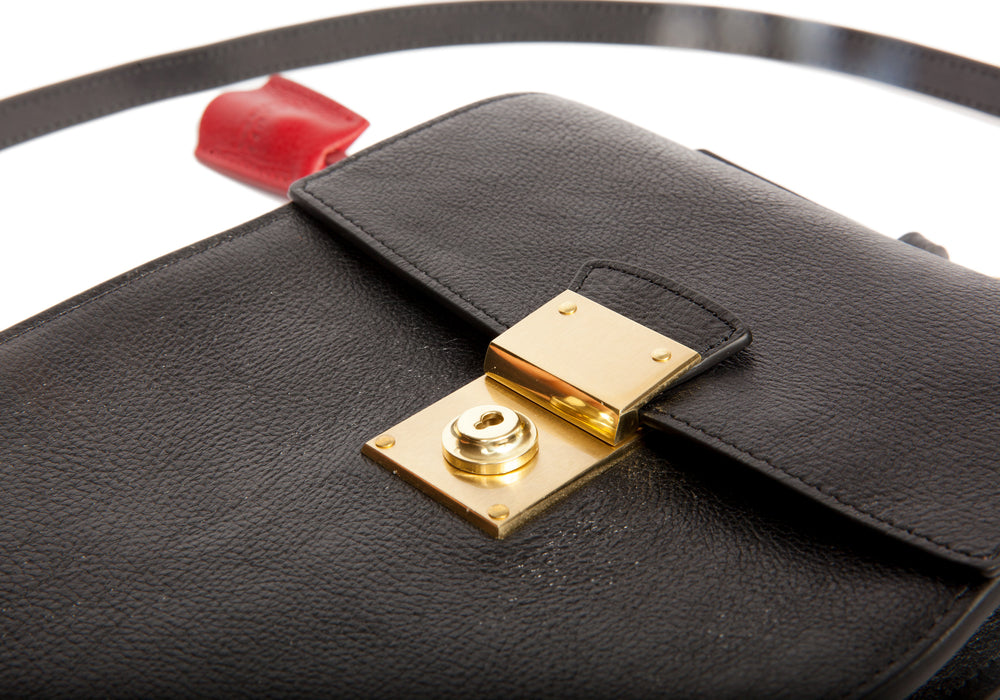 The Leather Lockbox Bag Black-Red