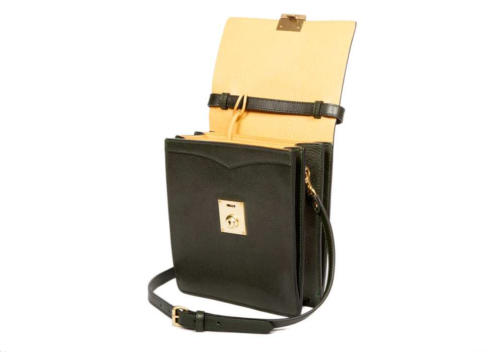 The Leather Lockbox Bag Green-Ochre