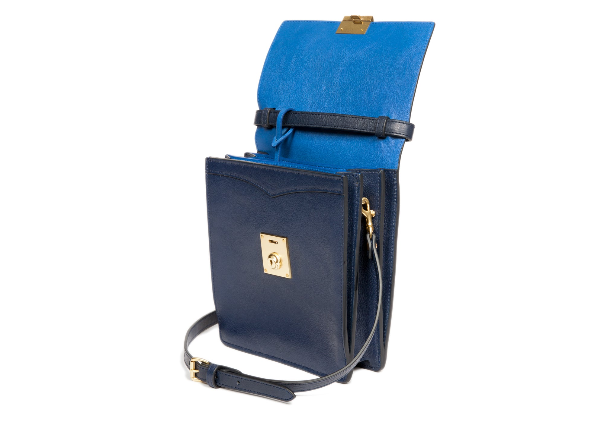 The Leather Lockbox Bag Indigo-Electric Blue