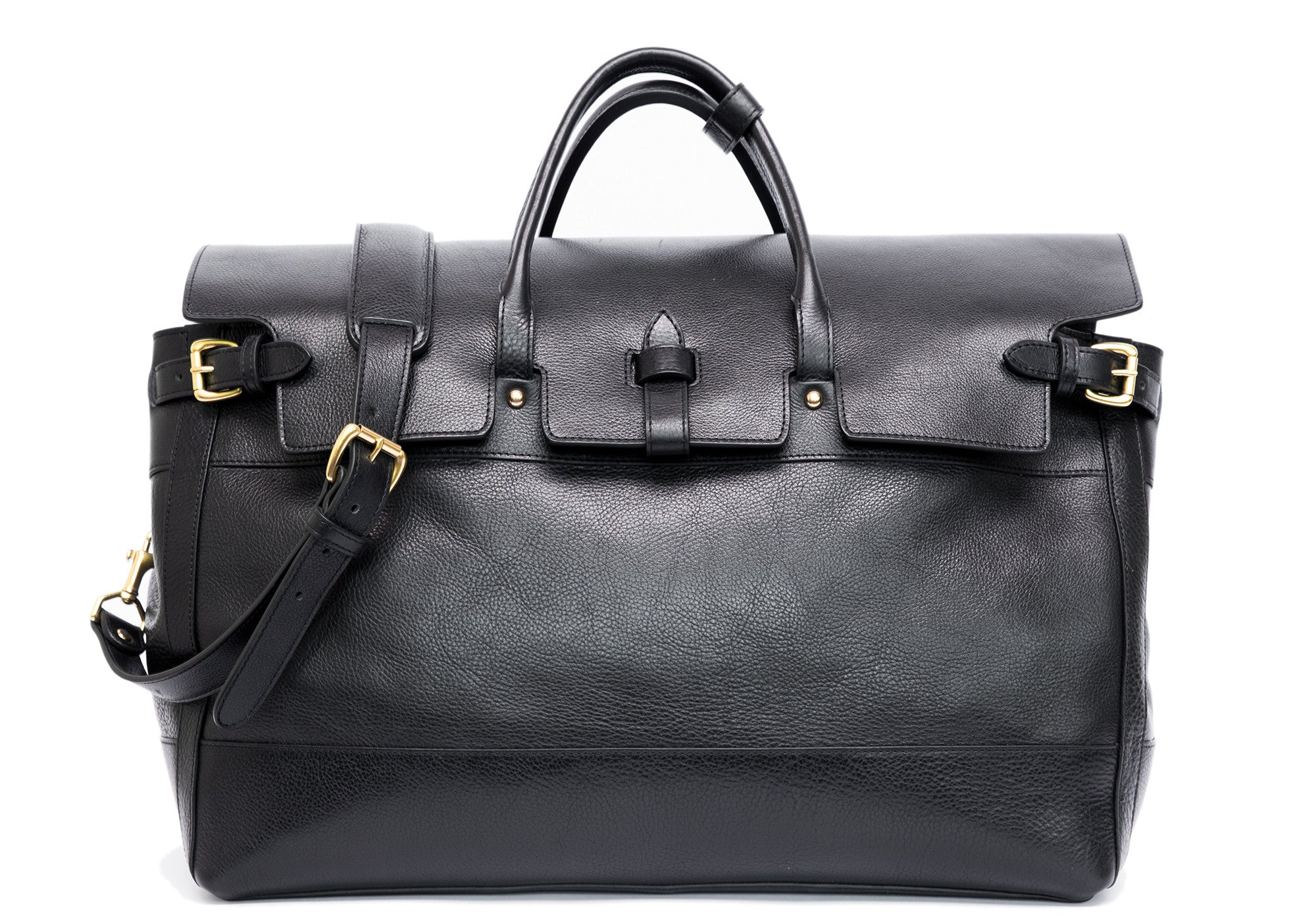 Leather Day Satchel Black|Front Leather View