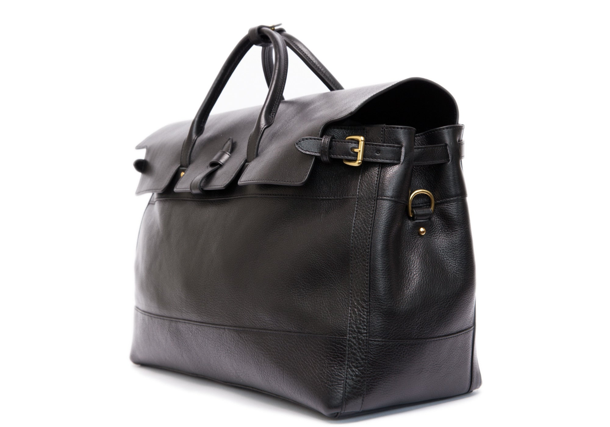 Side View of Leather Day Satchel Black