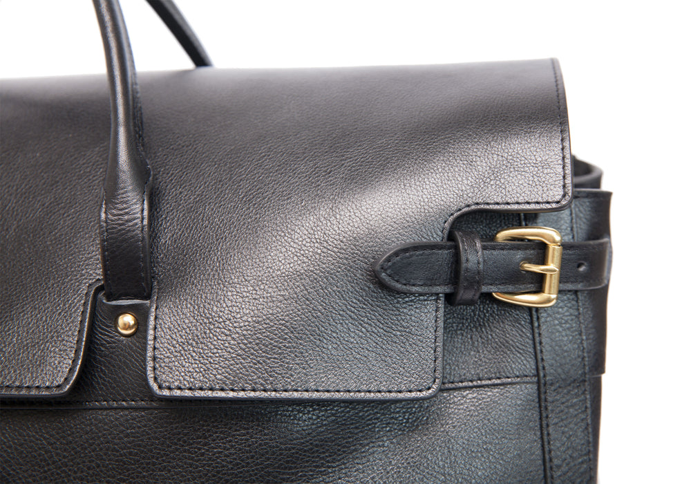 Leather Day Satchel Black