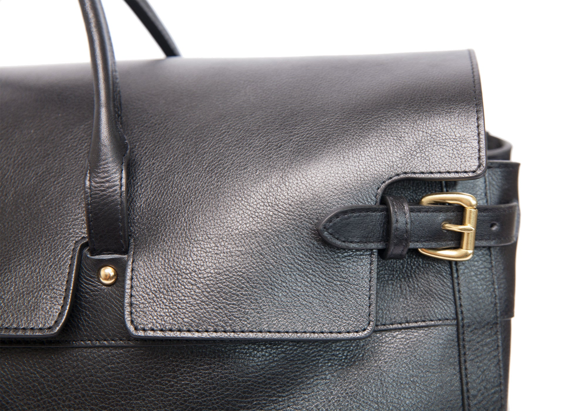 Front Buckle View of Leather Day Satchel Black