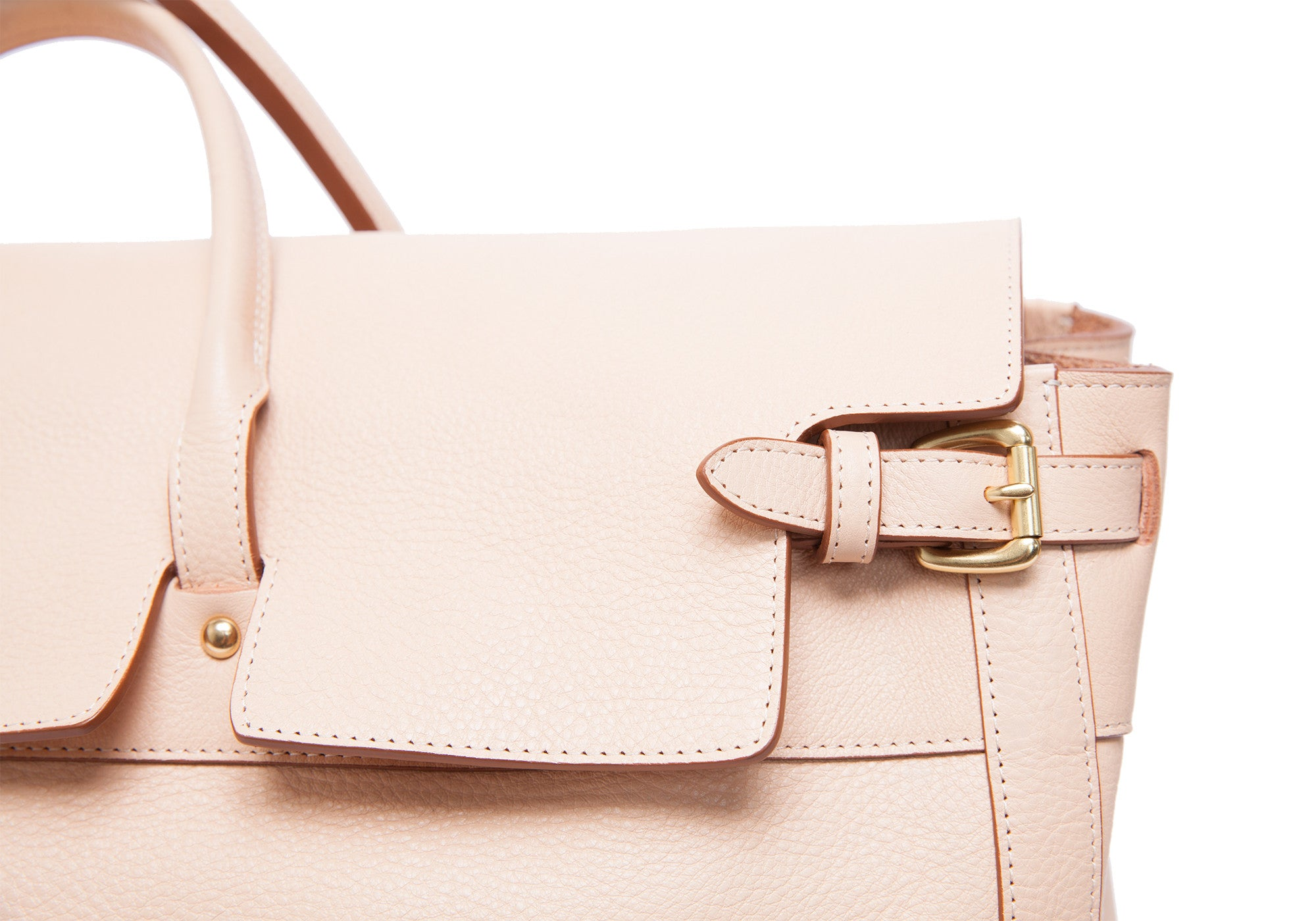 Front Leather Buckle View of Leather Day Satchel Natural