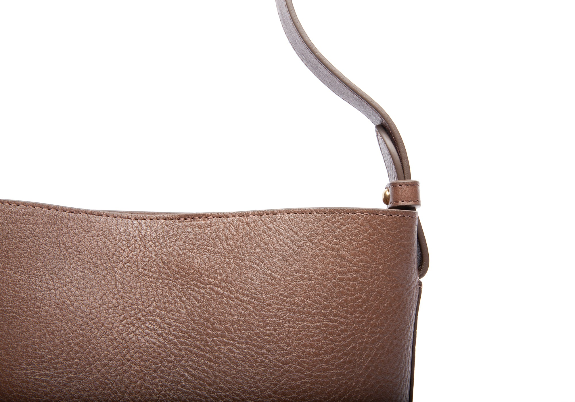 Mini Leather Bucket Shoulder Bag Clay