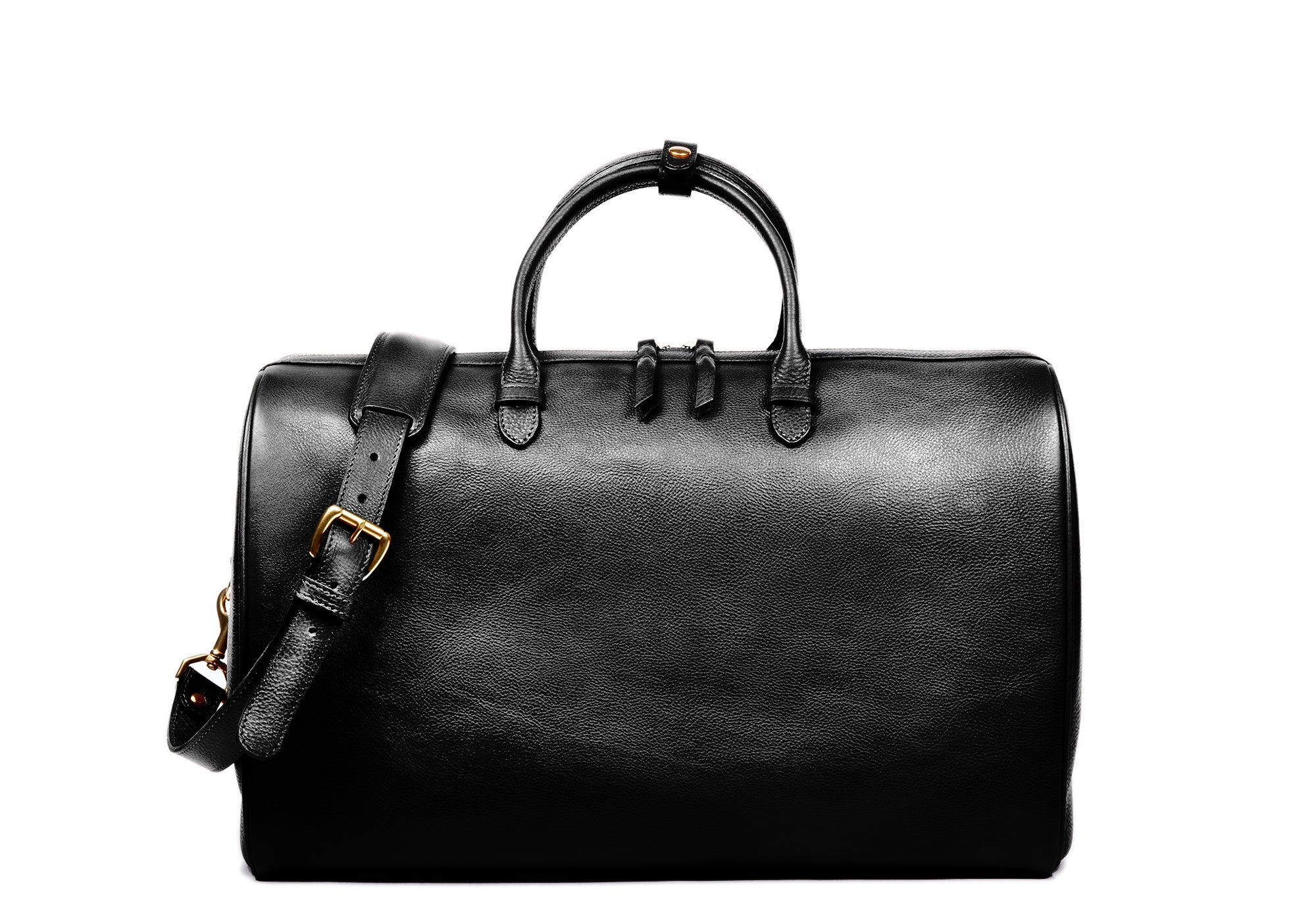 Front Leather View of No. 10 Weekender Bag Black