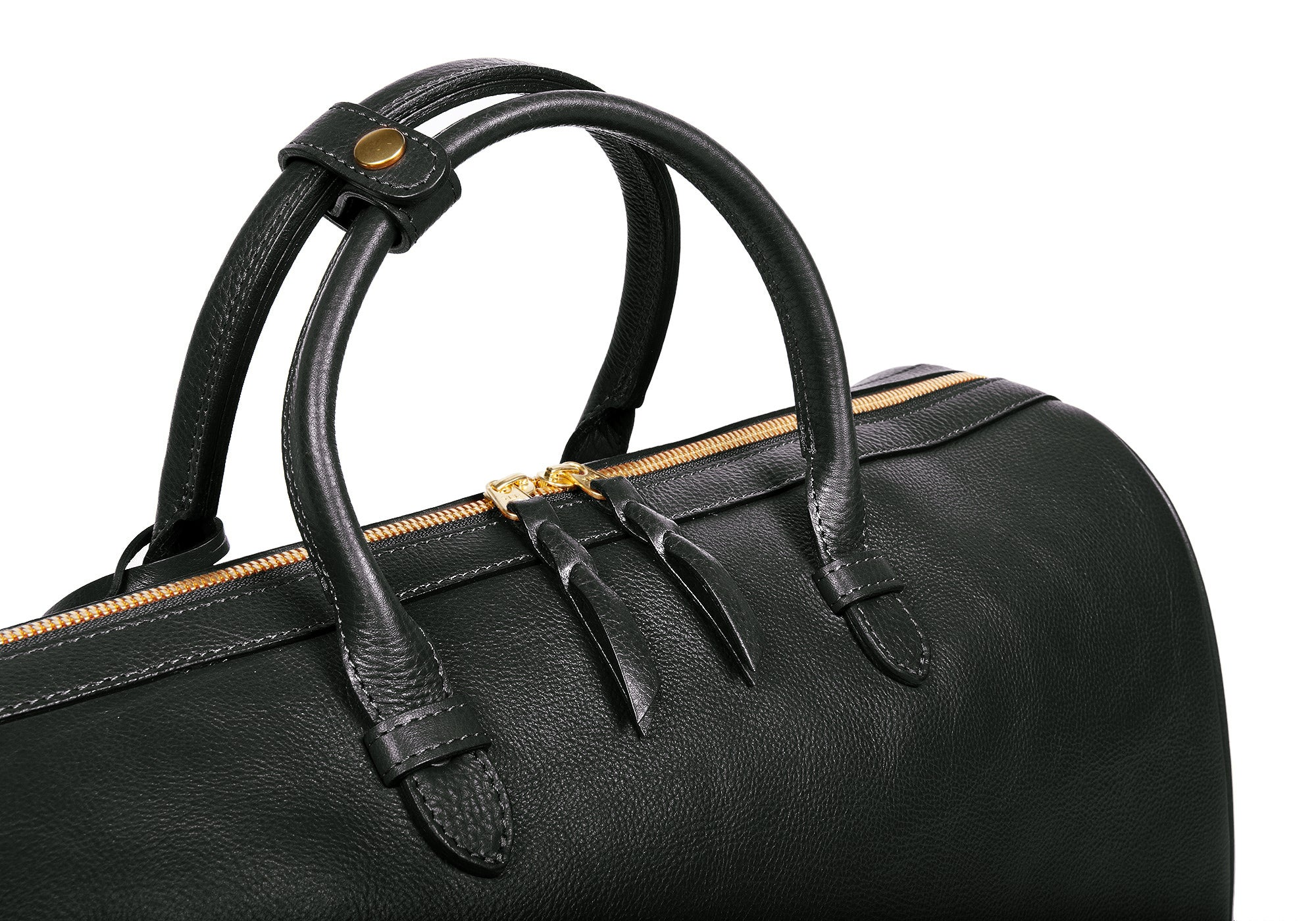 Top Leather Handle of No. 10 Weekender Bag Black