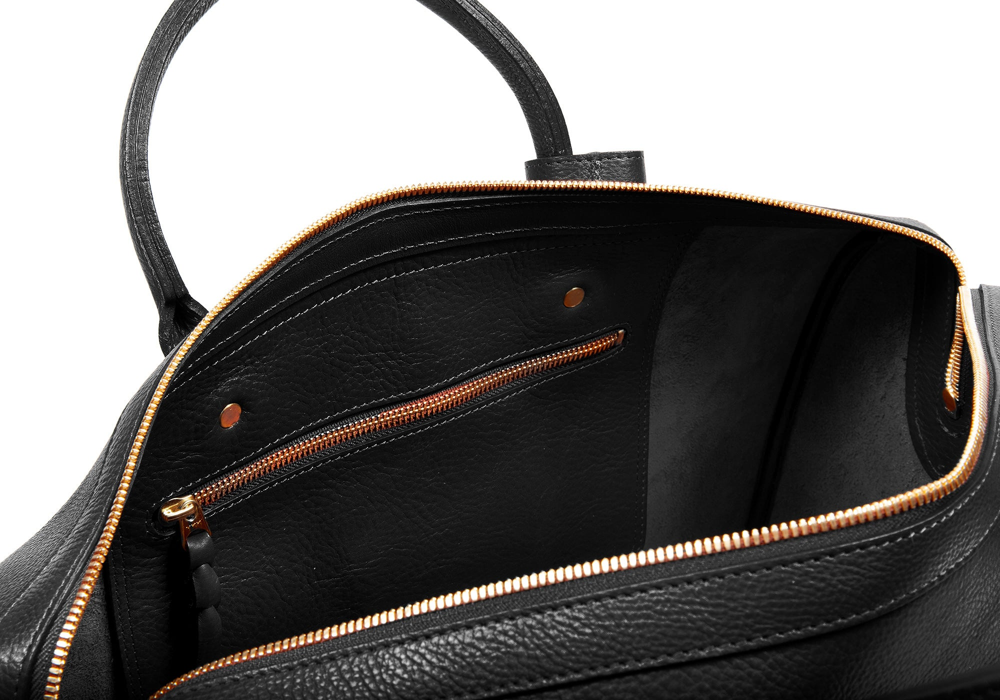 Inner Leather View of No. 10 Weekender Bag Black