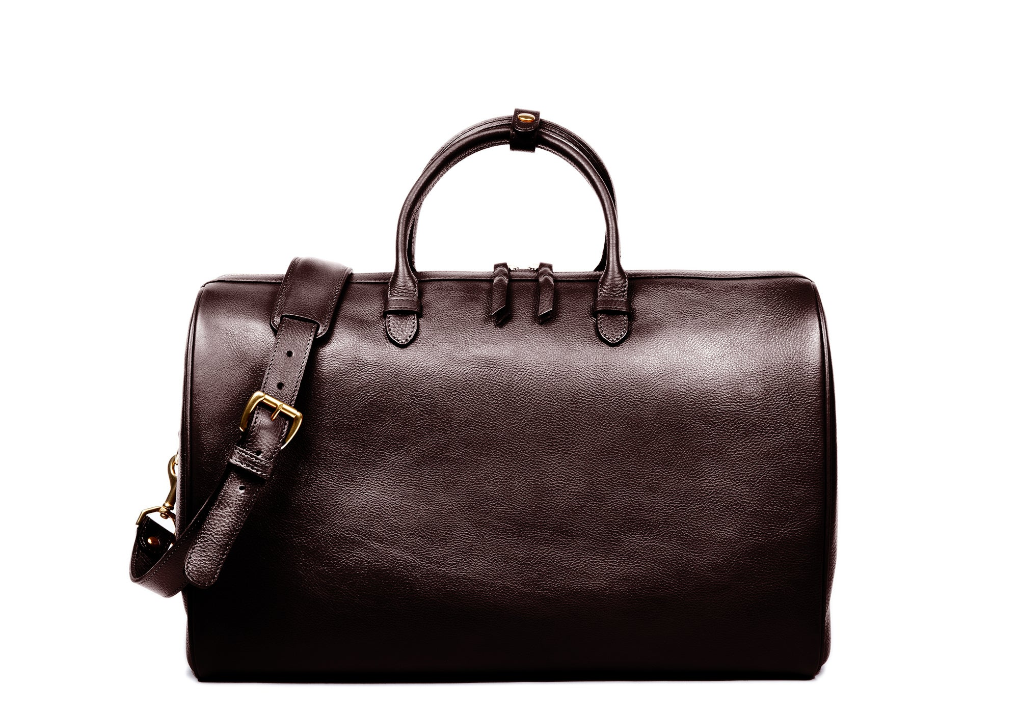 Front Leather View of No. 10 Weekender Bag Chocolate