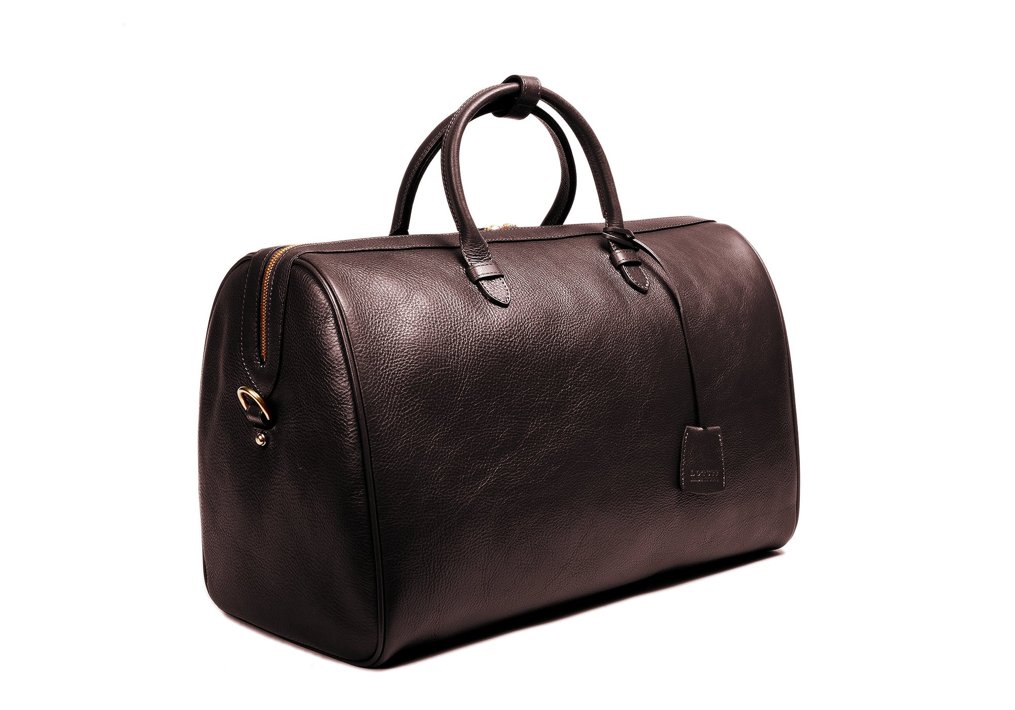 Side Leather View of No. 10 Weekender Bag Chocolate