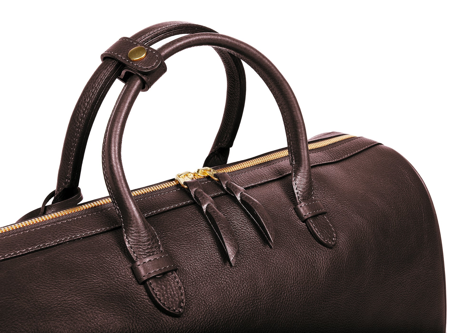 Top Leather Handle of No. 10 Weekender Bag Chocolate