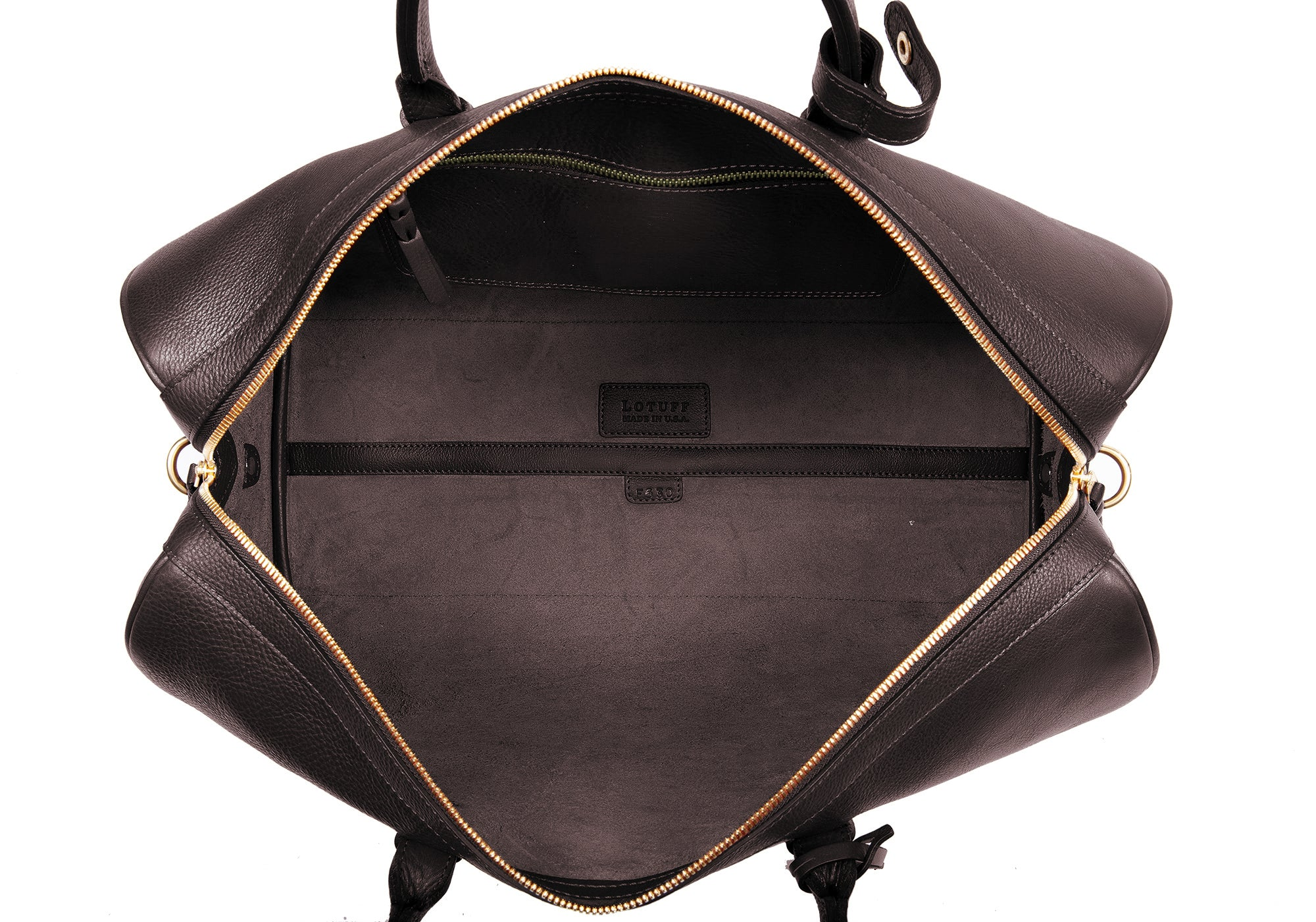 Inner Leather View of No. 10 Weekender Bag Chocolate