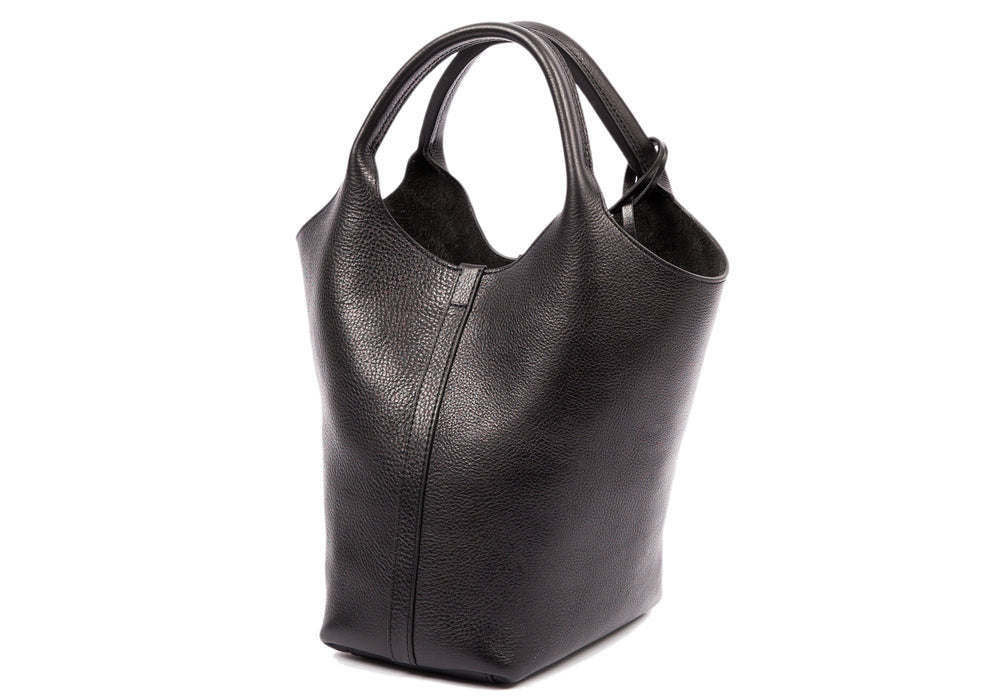 Side Leather View of The One-Piece Bag Black
