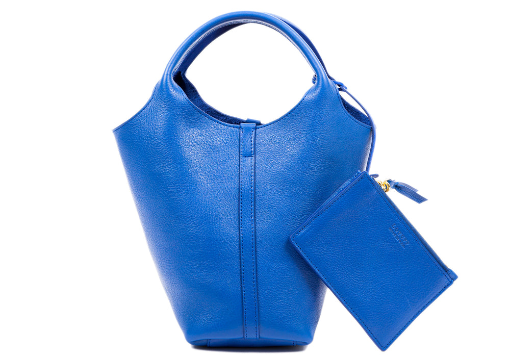 Front Leather View of The One-Piece Bag Electric Blue