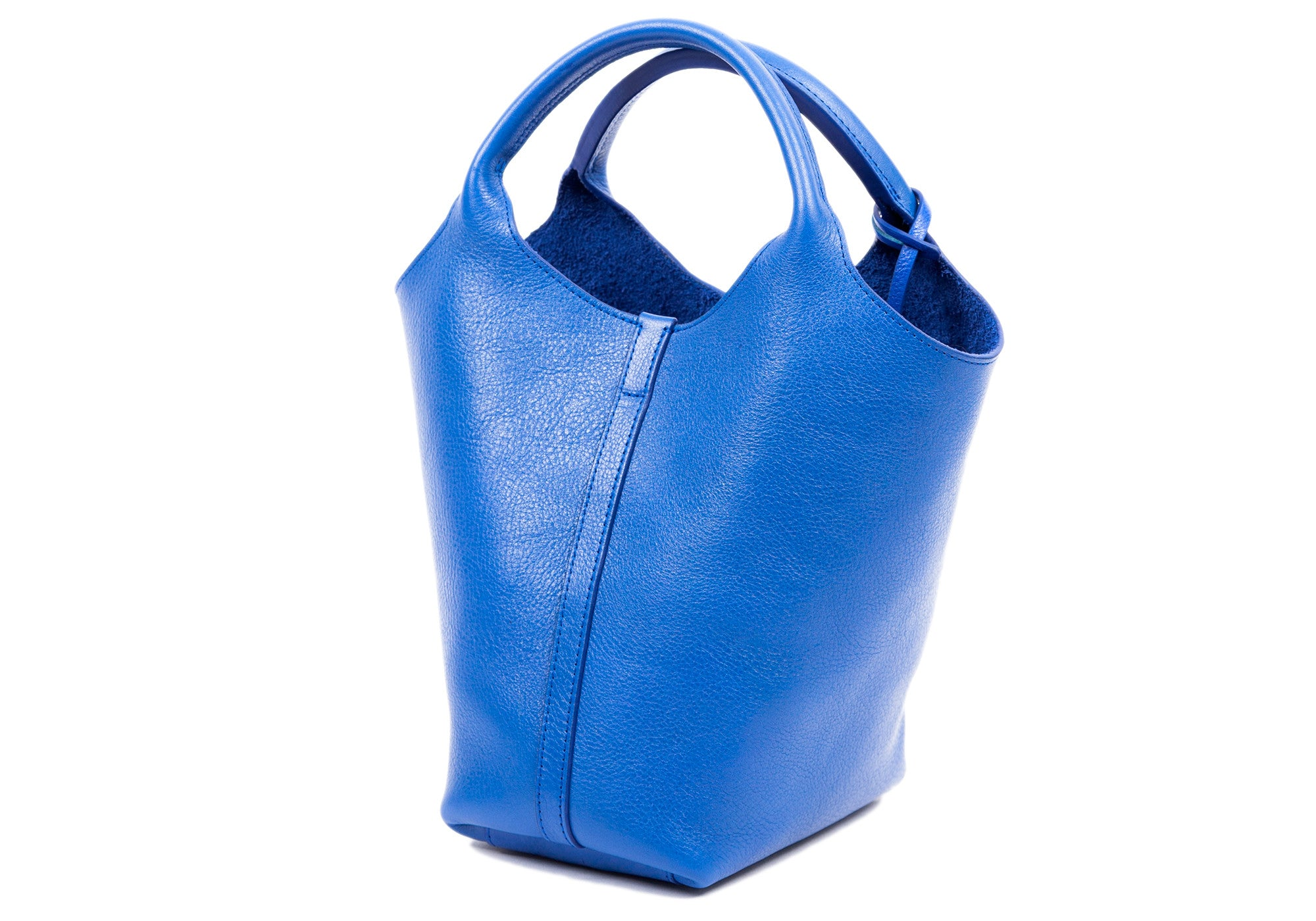 Side Leather View of The One-Piece Bag Electric Blue
