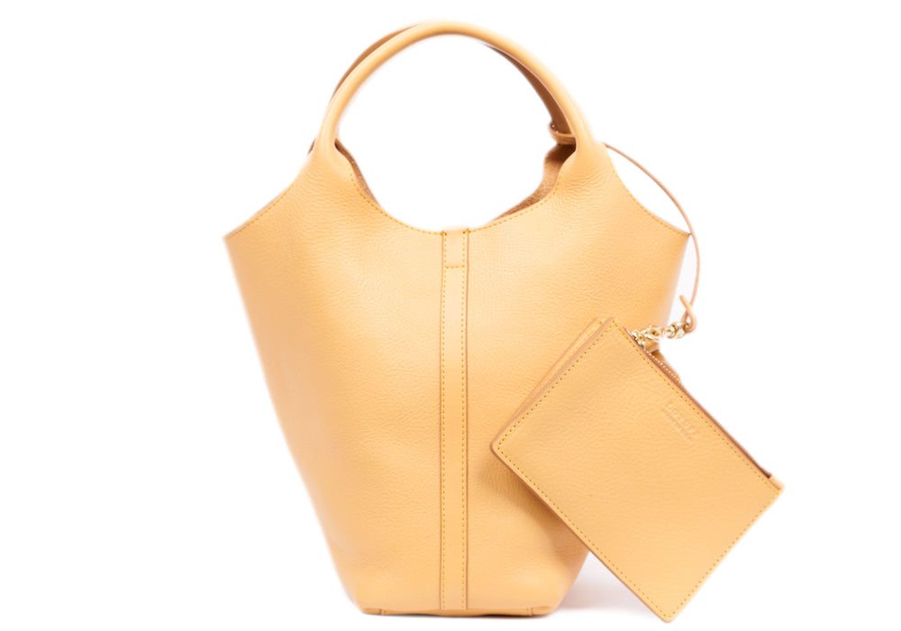 Front Leather View of The One-Piece Bag Ochre