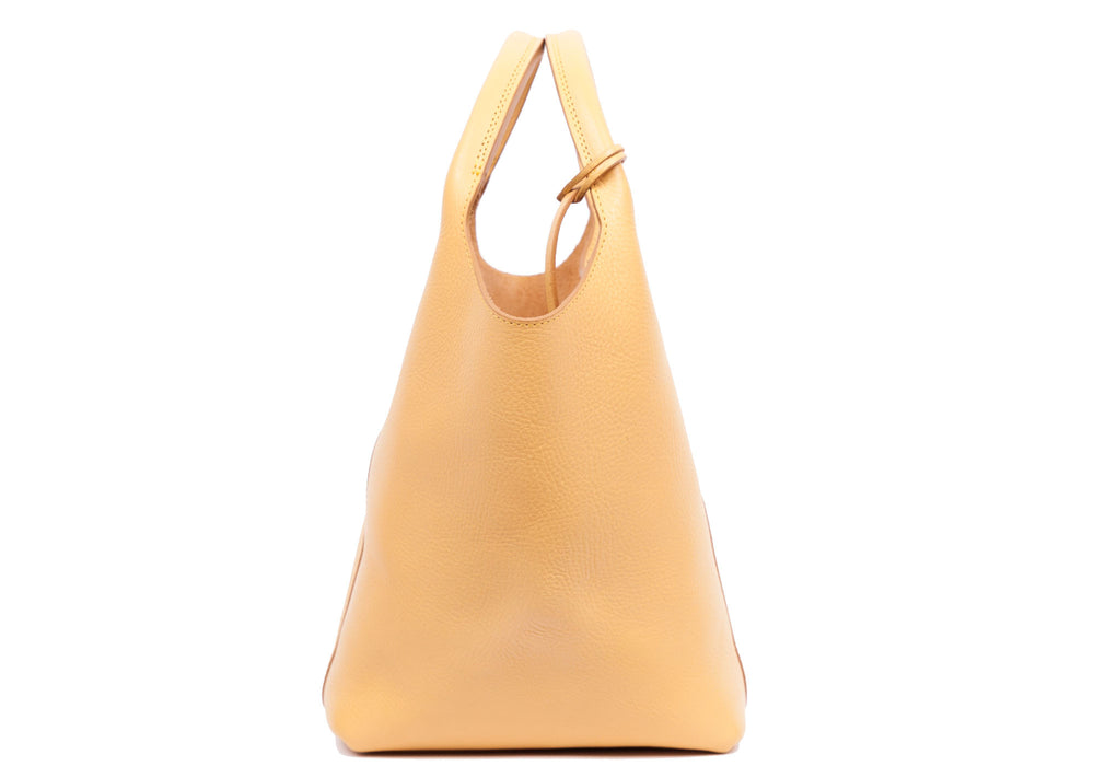 Side Leather View of The One-Piece Bag Ochre