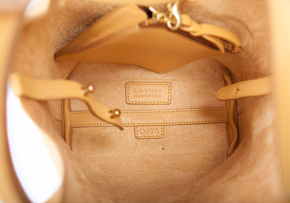 Inner Leather View of The One-Piece Bag Ochre