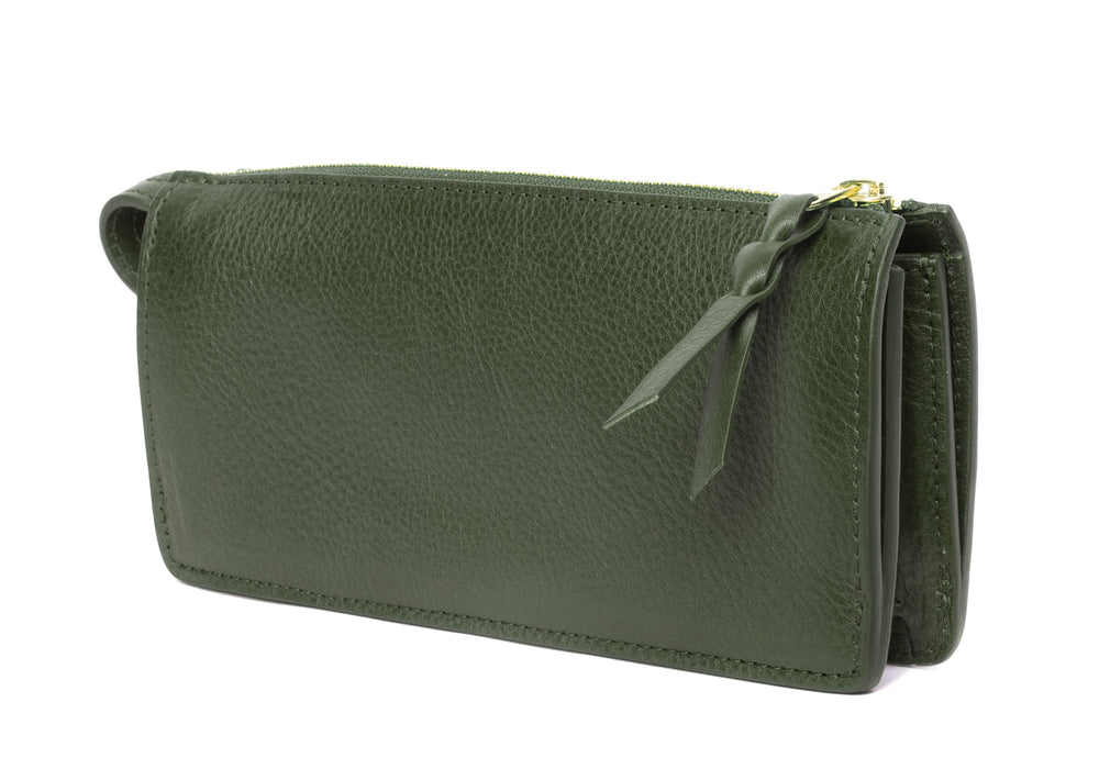 Women's Leather Wallet Olive